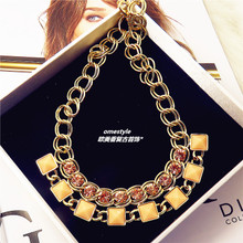 Europe and America brand quality sweet pink crystal candy color gem female Han Xia short skirt gold plated necklace accessories
