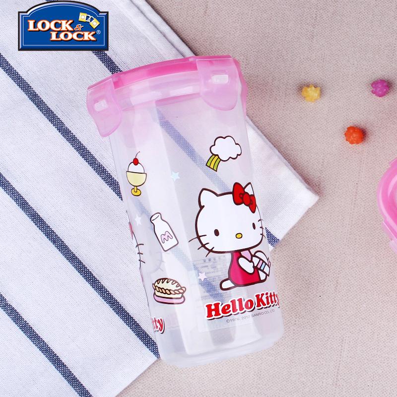 乐扣乐扣旗舰店hello kitty卡通塑料保鲜盒儿童透明水壶便携水杯