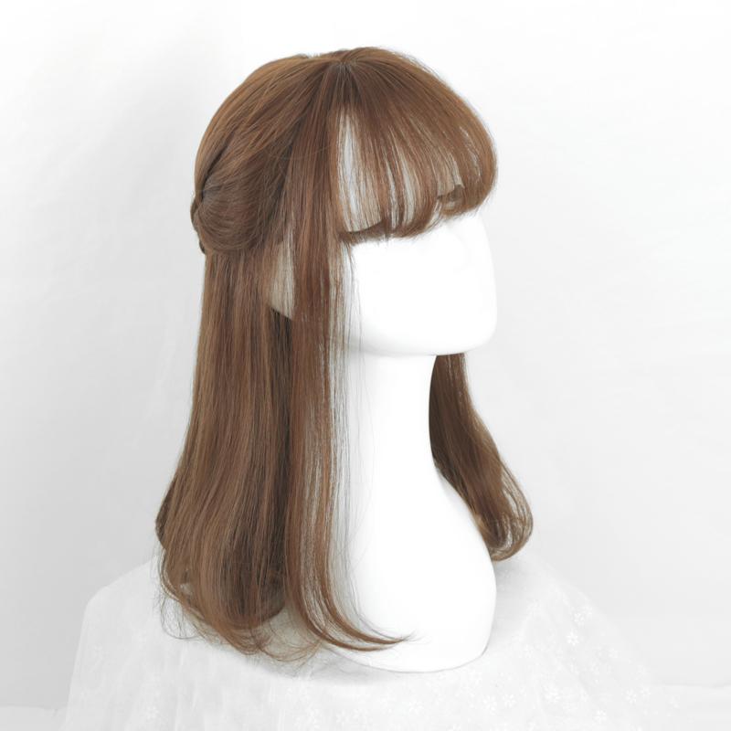 ^_^ ирак воздействовать на поэзия ^_^ воздух челка груша глава свиток волосы парик женщина природный короткие волосы парики реалистичное изображение длинные волосы