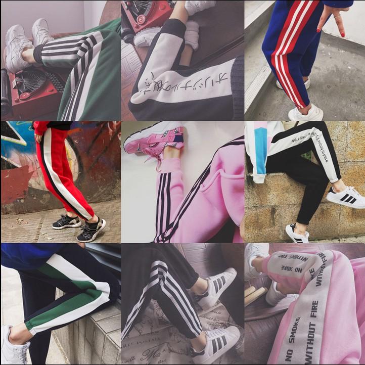 Ulzzang Harajuku BF в Южной Корее три полосы для осень/зима отдых плюс флис брюки шаровары с связанные ноги женщин тренировочные брюки