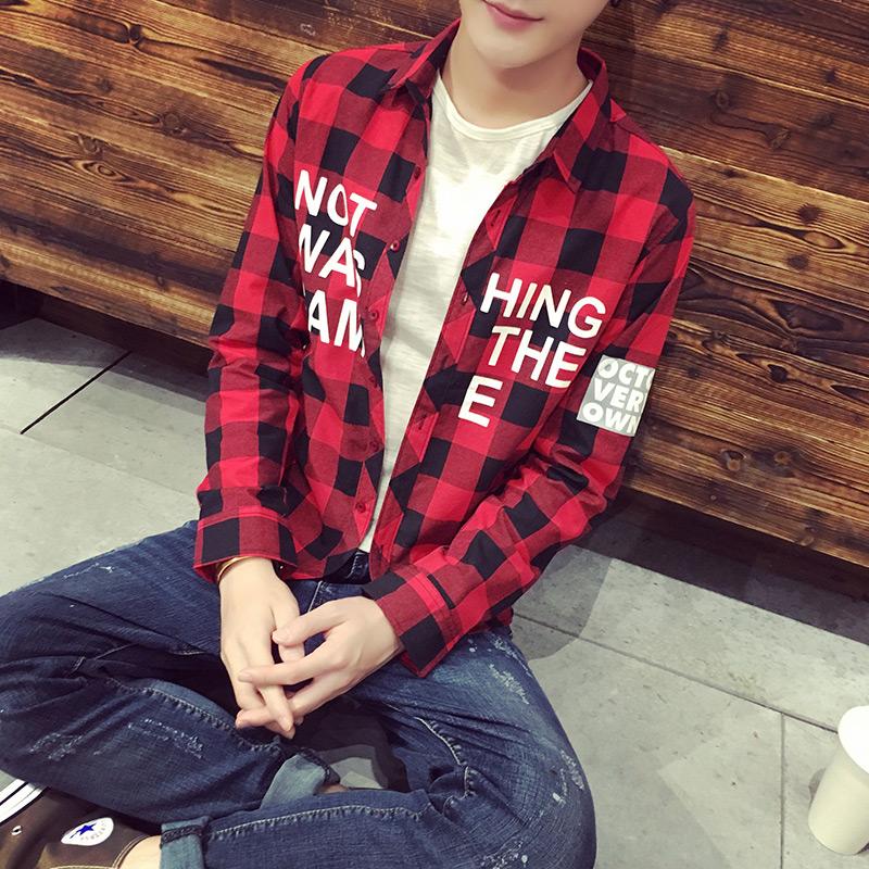 長袖襯衫男 青少年學生格子襯衣 男士 修身印花寸衫潮