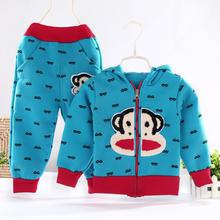 2015 children's clothing baby boy fall fleece suit with velvet suit children han edition cotton baby clothes