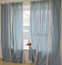 Foreign trade export finished curtain High-grade sitting room bedroom wave stitching window curtain Blue vertical with cotton trim