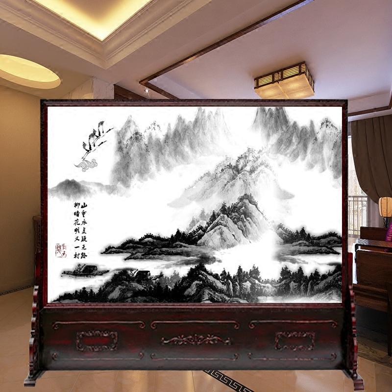 Современный китайский стиль ретро дерево экран отрезать конференция гостиная вход ворота отели офис комната чай комната бизнес сиденье экран