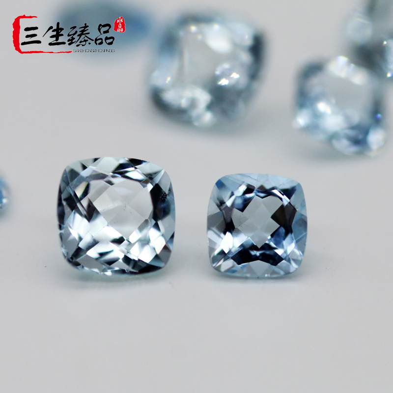 Natural Aquamarine naked stone ring face full clean if square pillow color GEM PENDANT ring specification