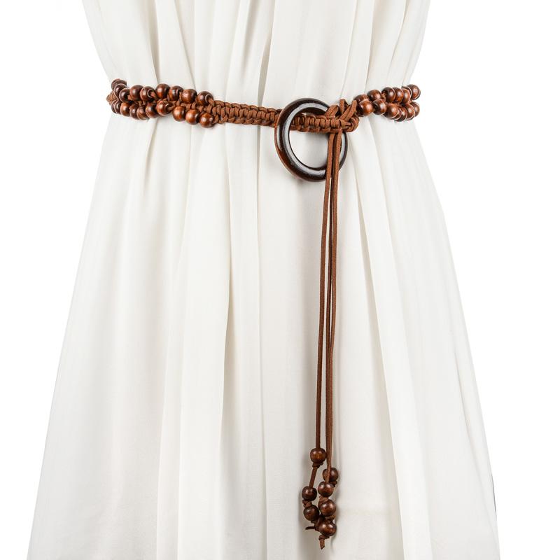 波西米亞配長裙女士民族風腰帶 配毛衣打結裝飾腰鏈木扣皮帶