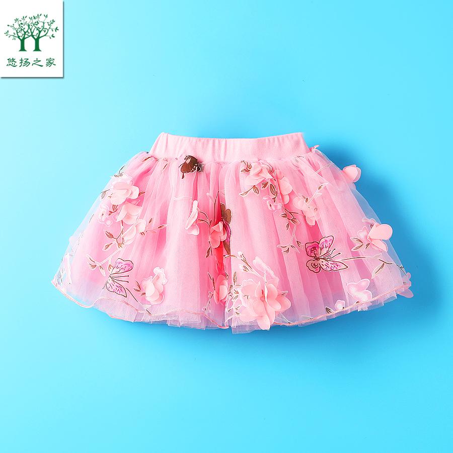 2017 девушка летний костюм юбка юбка один 3 два 4 три 5 четыре лет девочки марля юбка ребенок платье принцессы