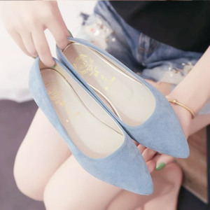 Korean version of frosted shallow mouth comfortable flat shoes summer new flat pointed shoes wild women shoes suede