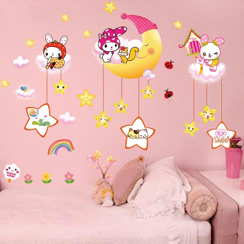 Наклейки для стен ребенок дом детский сад ребенок спальня декоративный мультфильм про животных стена стена на наклейки обои наклейка самоклеящийся