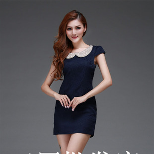 2013 spring and summer new European and American classical temperament export Obscure pearl embroidered doll collar dress 55840