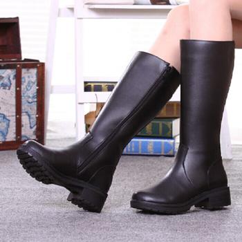 女中长筒靴秋冬季真皮军靴机车靴