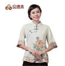 Ms product Tang Zhai cotton and linen tang suit summer wind of the republic of China women's cheongsam coat improved hanfu female tea tea art clothing