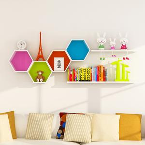 创意格子墙壁隔板墙面搁架背景墙装饰架客厅搁板墙上置物架壁挂木