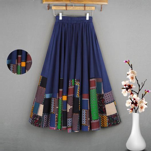 亚麻半身长裙