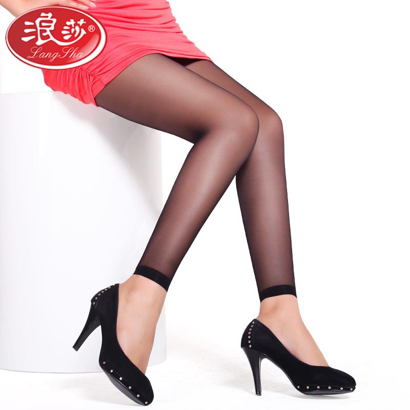 浪莎丝袜女连裤袜防勾丝超薄踩脚九分露趾鱼嘴袜隐形夏薄款打底袜