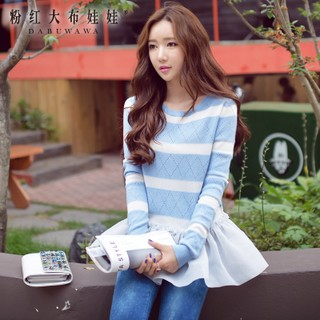 Sweater girls big pink doll 2015 autumn jacket slim flounce skirt-striped pullover