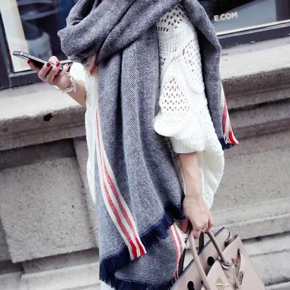 毛線圍巾男女秋 保暖加厚長款仿羊絨披肩兩用學生圍脖韓國