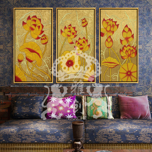 Ya Chong pure hand painted gold leaf painting Southeast Asia Thai Lotus living room framed painting decorative painting den hotel clubs