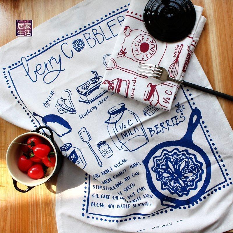 【独家原创】纯棉手绘餐布大茶巾烘焙白色厨房布餐垫布美食背景布