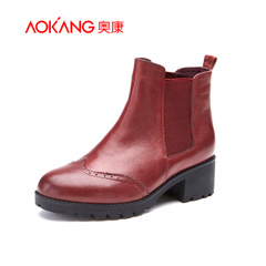 Aokang shoes in 2015 new sheep's clothing for fall/winter warm Chelsea boots with round head with elastic band women ankle boots