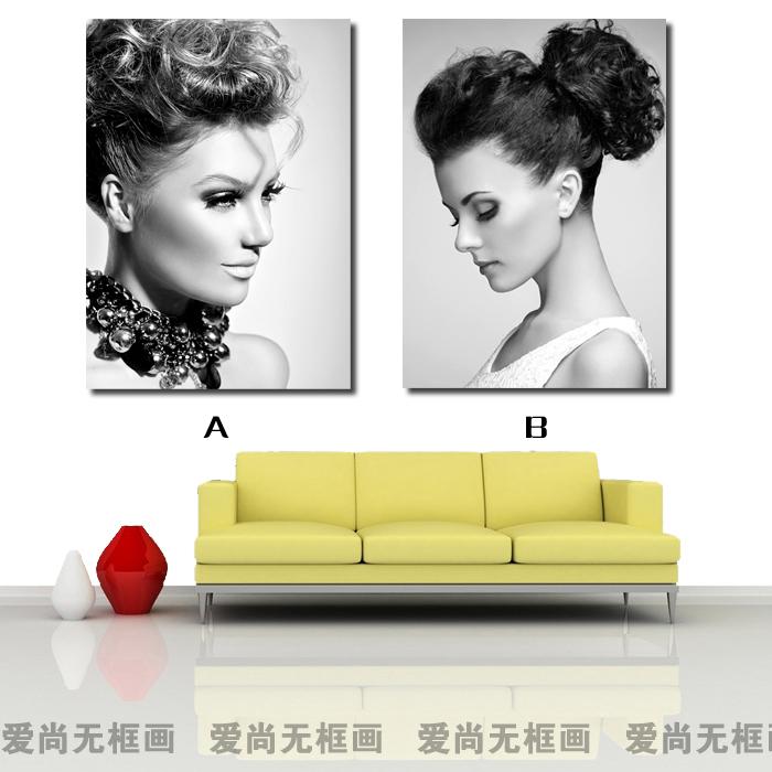 黑白发型美女挂画 美容美发店现代装饰画无框发廊理发造型墙壁画