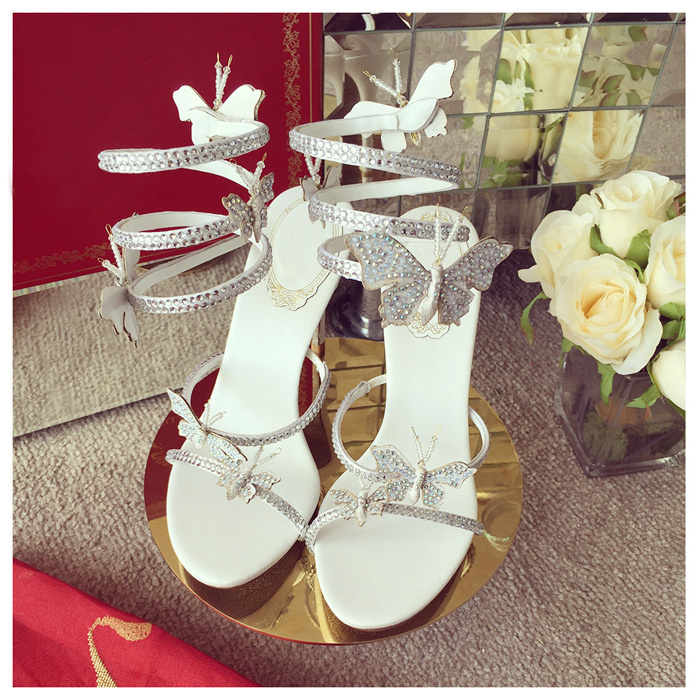 Sandals womens 2017 new European and American leather high heel thin Heel Ankle Strap open toe butterfly white wedding shoes