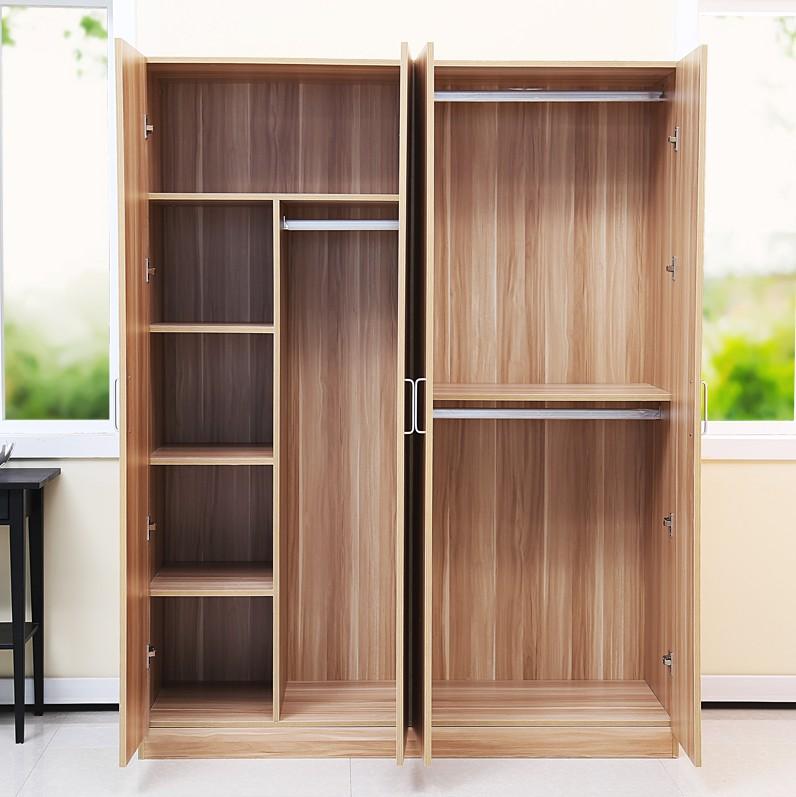 簡約實木質板式衣櫃 簡易衣架 大容量儲物櫃 三四門衣櫥包郵