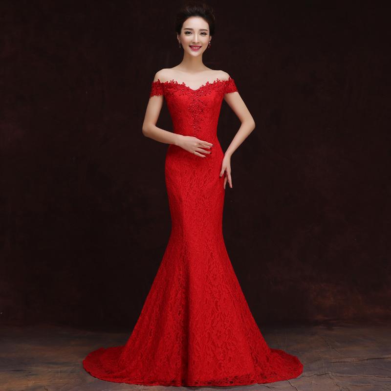 新娘敬酒服新款鱼尾婚纱礼服长款拖尾一字肩红色晚礼服结婚礼服女