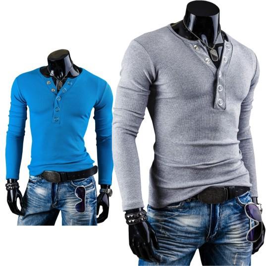 к 2015 году весна новая базовая рубашка мужская v шеи кольцо зубец пряжки украшение отшлифовать тонкий длинный рукав футболка