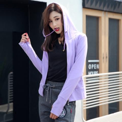 Spring and summer coat womens zipper cardigan Hooded Sweater cotton long sleeve slim womens short