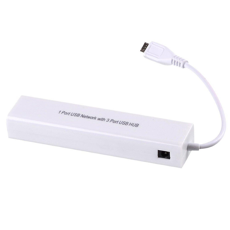 安卓平板电脑有线网卡网线转换器 micro USB转以太网RJ45接口HUB
