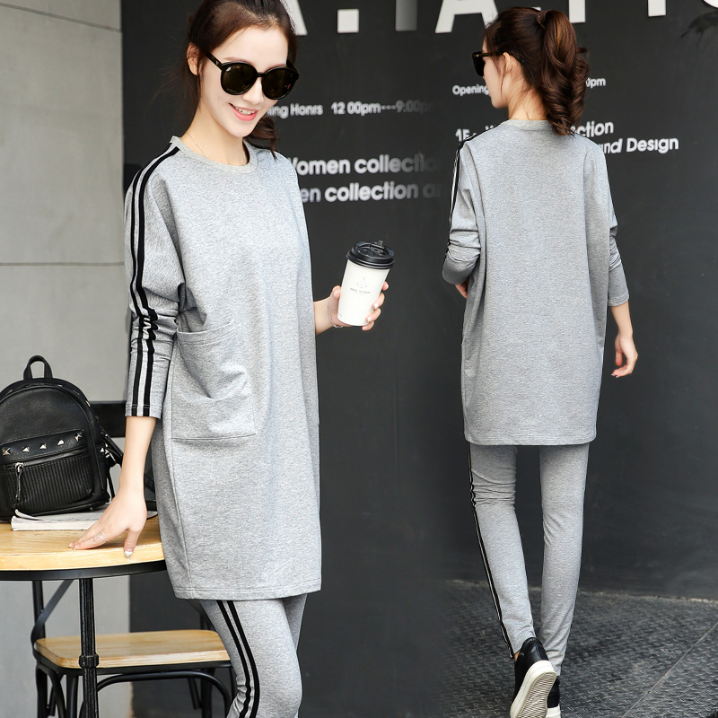 2017 new spring dress Korean fashion casual sportswear suit loose sweater two piece female spring tide