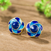 Ms Tai new 925 Silver cloisonne earrings simple earrings grilled blue tide