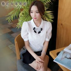 Blouses short sleeve pink summer doll new 2015 Joker white/lace puff sleeve shirt