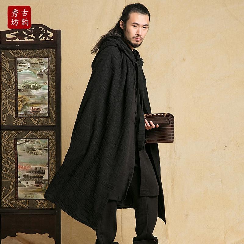 古韵秀坊民族风棉麻长外套男披风衣限10000张券