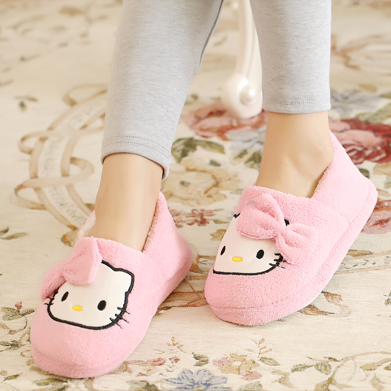 Autumn and winter cotton shoes cartoon cat cotton shoes autumn winter indoor moon shoes antiskid soft bottom cotton slippers womens home shoes bag heel