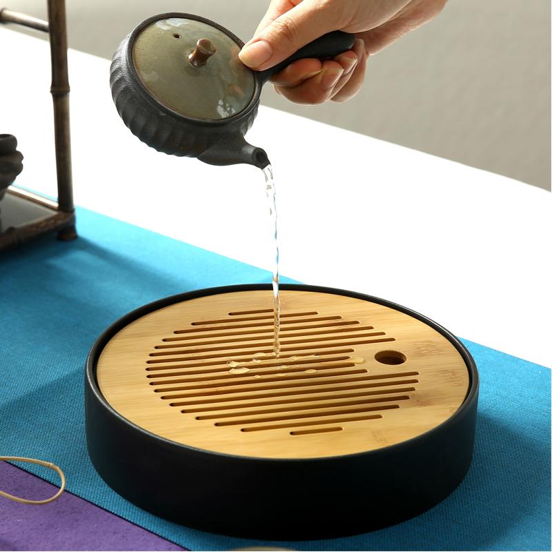 陶瓷家用簡約竹製圓形迷你小號茶盤功夫茶具日式托盤儲水幹泡茶台