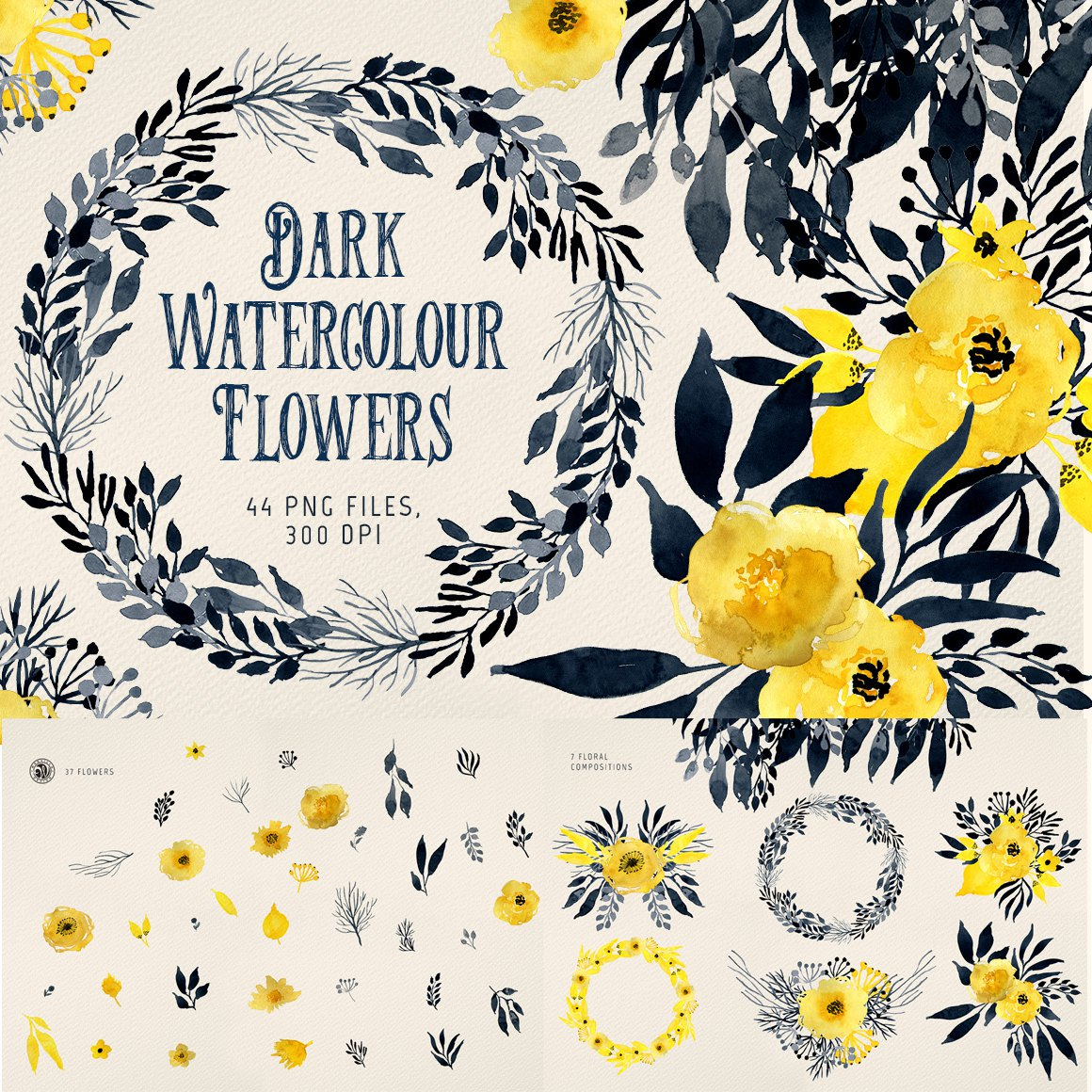 Beautiful retro hand painted yellow black watercolor flower wreath leaf card PNG free matting design material