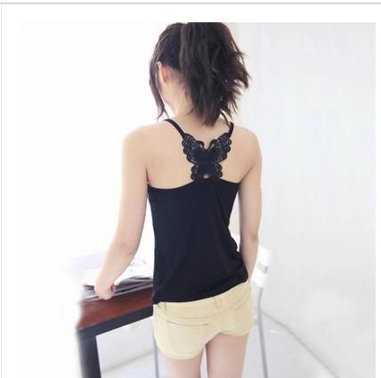 夏款時尚蝴蝶結抹胸吊帶衫鏤空蕾絲小背心長款莫代爾吊帶打底衫女