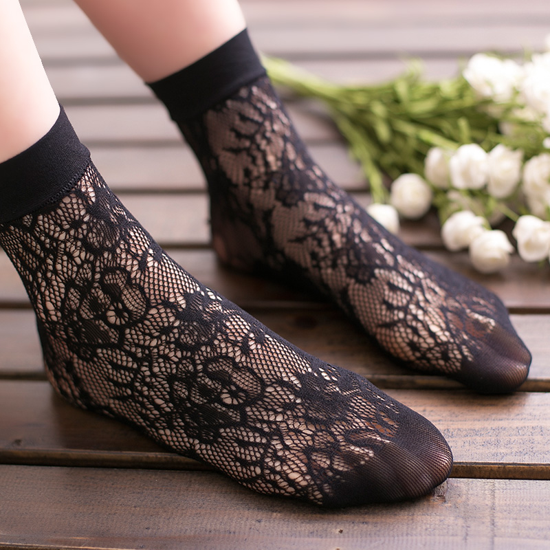 Lolita Japanese ultra thin breathable retro mori silk eye socks jacquard short tube silk stockings net socks children