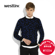 West-fall 2015 new Korean fashion jackets casual color print men's long-sleeved pullover sweater