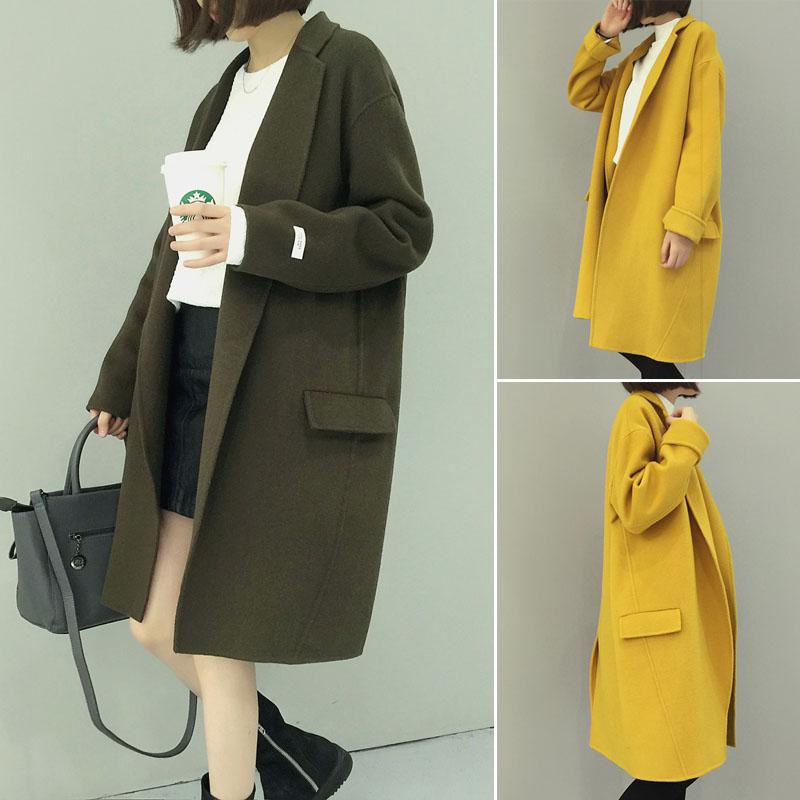 Осенние пальто шерсти в корейской версии свободные дамы малых полей дышать сладкий темперамент длинные тонкие сукна пальто куртки