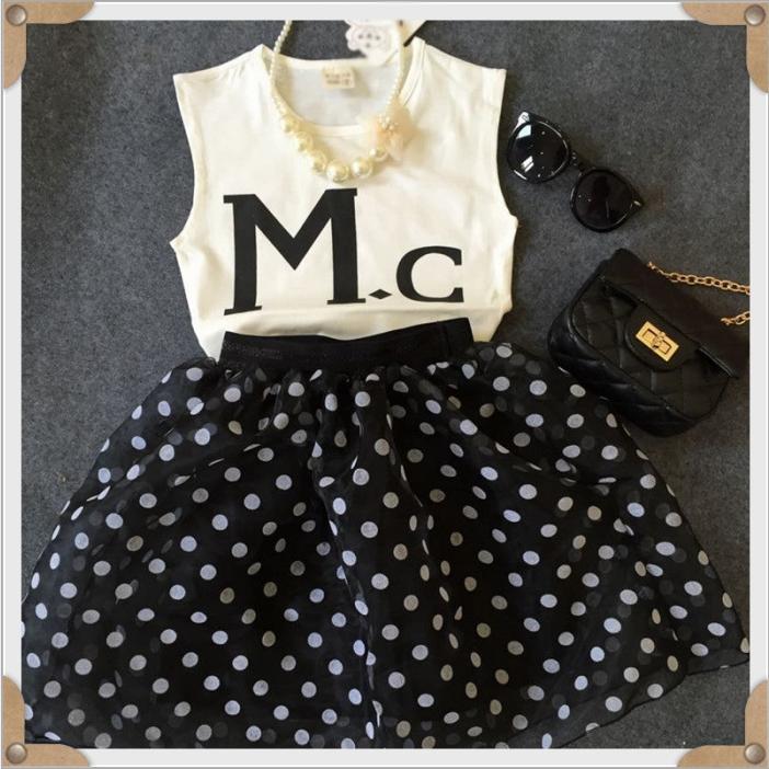 Корейский Детская одежда летом 2015 новых писем печатных рукавов жилет + горошек сетки юбка костюм мальчиков 2 частей комплекта