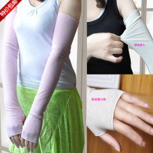 Summer sun protection sleeve gloves uv ultra-thin arm long sheath cotton lace ice cuff