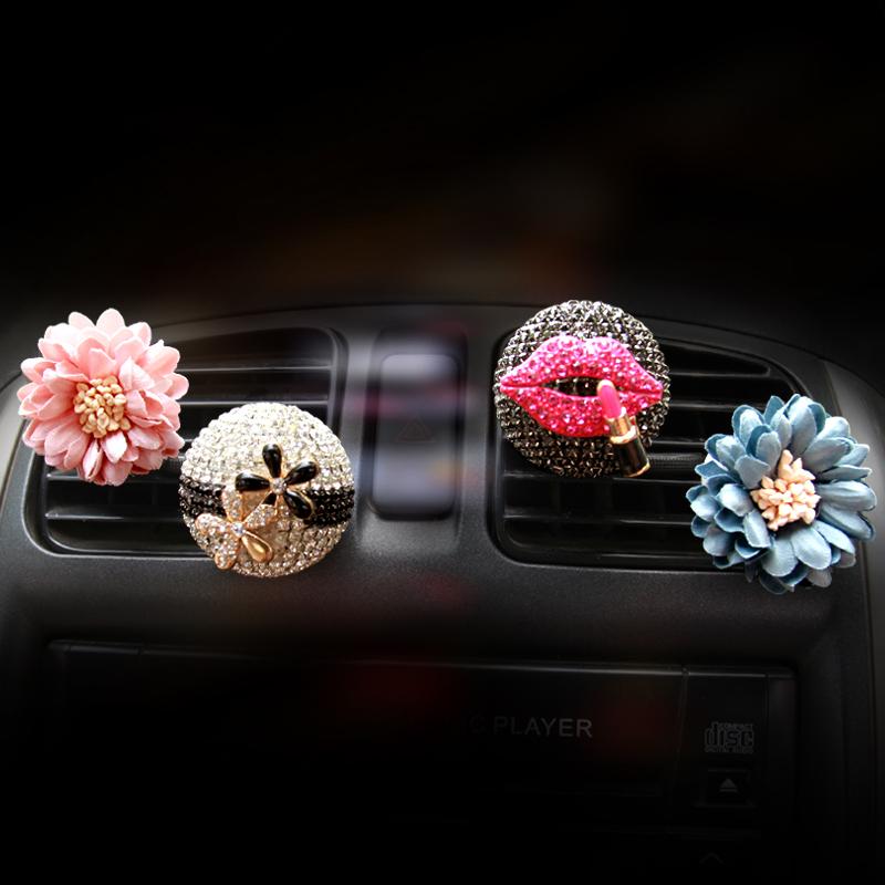 汽車 鑲鑽出風口香水車內空調風口香水座香片夾女性裝飾品水鑽