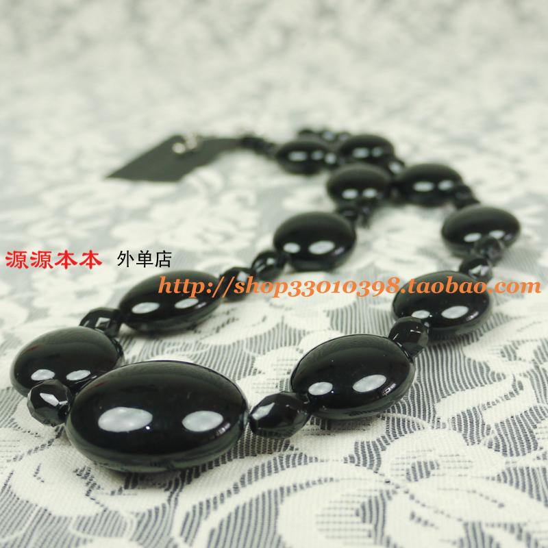 出口欧美外贸原单复古韩国版 黑色亚克力串珠 短款项链时尚锁骨链
