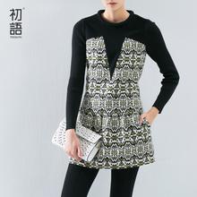 初语摩登冬季假两件长袖连衣裙女文艺范复古连衣裙 时尚女裙子图片
