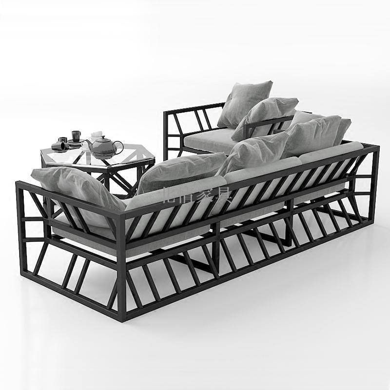 北歐工業風鐵藝沙發茶几組合單人三人小戶型咖啡廳服裝店辦公休閑