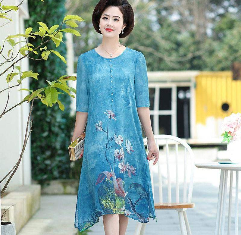 ?? Mothers summer printed straight tube large dress middle aged and elderly summer middle-aged womens noble long style over the knee
