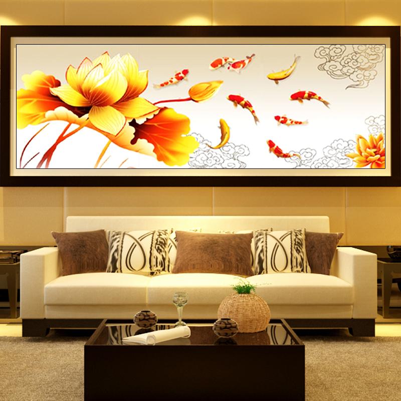 Лотос девять рисунок крестом Триптих новые рыбы рыбы гостиной существенно точной печати Китай Ветер крест стежка серии